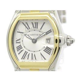 Cartier Roadster W62026Y4 18K Yellow Gold Steel Quartz 31mm Womens Watch