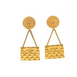 Chanel Matelasse Gold Tone Hardware Clip Earrings