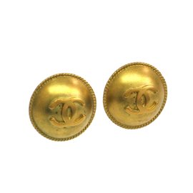 Chanel Coco Gold Tone Metal Clip Earrings
