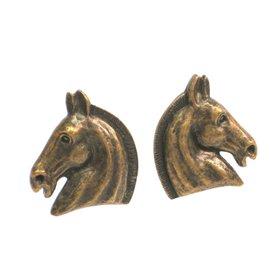 Hermes Cheval Bronze Clip Earrings