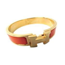 Hermes Gold Tone Hardware Clic Cloisonn Enamel Clic Clac Bangle