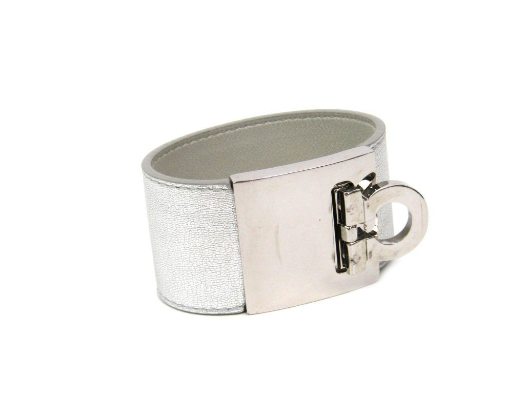 "Image of ""Salvatore Ferragamo Silver Tone Hardware Gancini Leather Bangle"""