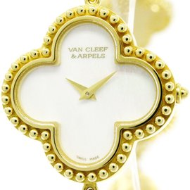 Van Cleef & Arpels Alhambra VCAR040T00 18K Yellow Gold Quartz 26mm Womens Watch