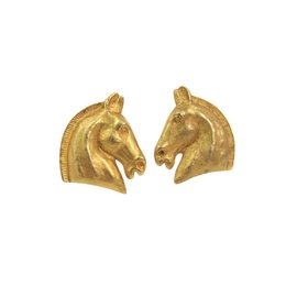 Hermes Cheval Gold Tone Hardware Clip Earrings