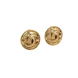 Chanel Coco Gold Tone Hardware Clip Earrings