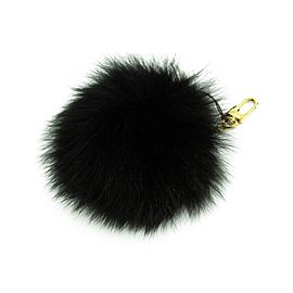 Louis Vuitton Gold Tone Hardware Leather Noir Fuzzy Bubble Bag Charm