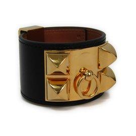 Hermes Collier De Chien Gold Tone Hardware Box Calf Leather Bracelet