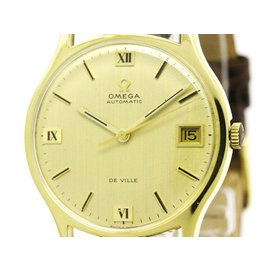 Omega De Ville 162046 18K Yellow Gold / Leather Automatic 33mm Mens Watch