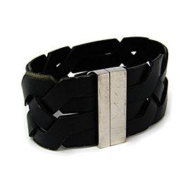 Hermes Silver Tone Hardware Black Leather Bracelet