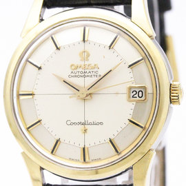 Omega Constellation 14393 Gold Plated / Leather Automatic 34mm Mens Watch