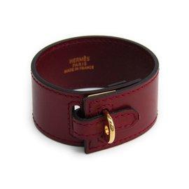 Hermes Gold Tone Hardware Calf Leather Bracelet