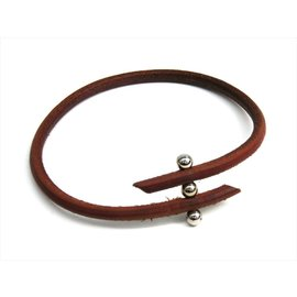 Hermes Rouletabille Silver Tone Hardware Leather Choker Necklace