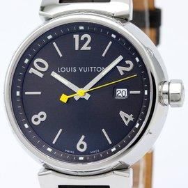 Louis Vuitton Tambour Q1111 Stainless Steel & Leather Quartz 40mm Mens Watch