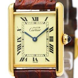 Cartier Must Tank 590005 Quartz Gold Plated Unisex Dress Watch