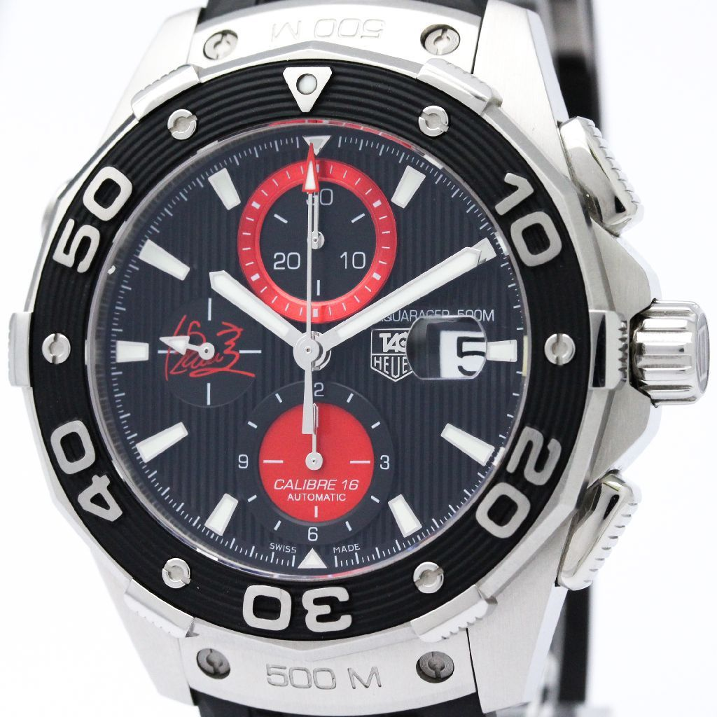 """Image of """"Tag Heuer Aquaracer Caj2113 Stainless Steel & Rubber Automatic 44mm"""""""