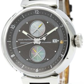 Louis Vuitton Tambour Q10A1 Stainless Steel & Leather Automatic 45mm Mens Watch