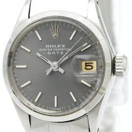 Rolex Oyster Perpetual Date 6519 Stainless Steel Automatic 25mm Womens Watch