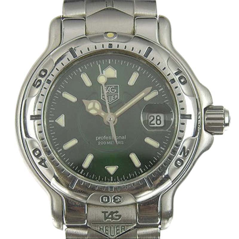 """Image of """"Tag Heuer Professional Wh1317 Stainless Steel Green Dial Quartz 29mm"""""""