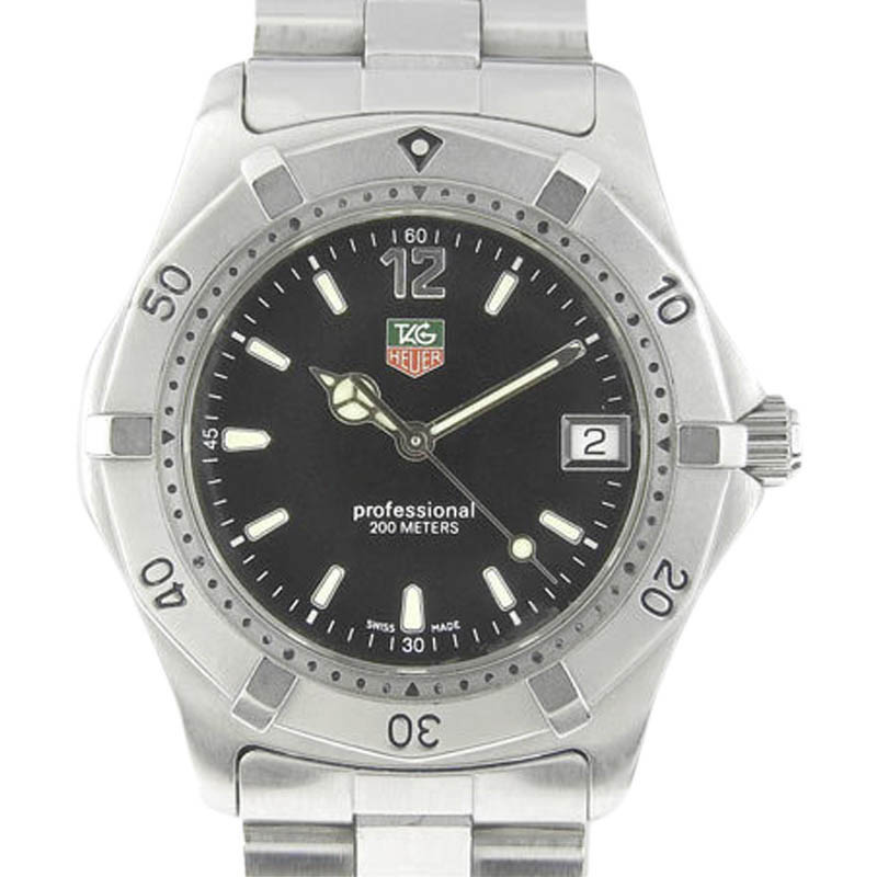 """Image of """"Tag Heuer Professional Wk1110-0 Stainless Steel Quartz 38mm Mens Watch"""""""