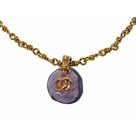Chanel Gold Tone Hardware with Purple Color Stone Vintage Necklace