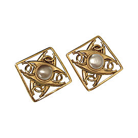 Chanel Coco Mark Gold Tone Hardware with Pearl Vintage Earrings