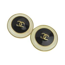 Chanel Gold Tone Hardware & Ceramic Earrings
