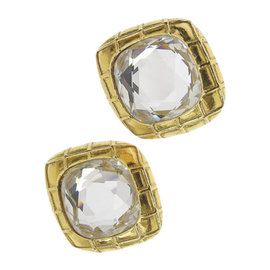 Chanel Gold Tone Hardware Rhinestone Earrings
