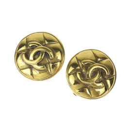 Chanel Coco Mark Gold Tone Hardware Earrings