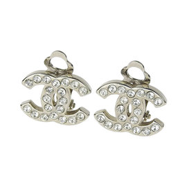 Chanel Silver Tone Hardware & Rhinestone Earrings