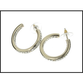 Chanel Silver Tone Hardware & Rhinestone Hoop Earrings
