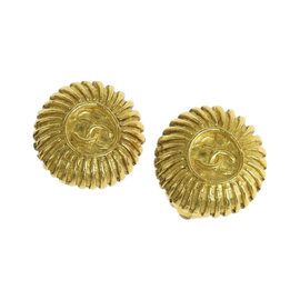 Chanel Coco Mark Gold Tone Hardware Circle Earrings