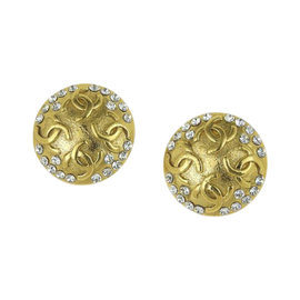 Chanel Gold Tone Hardware & Rhinestone Earrings