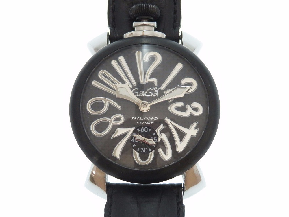 "Image of ""Gaga Milano Manuale 5013.01s Stainless Steel Carbon Black 48mm Mens"""