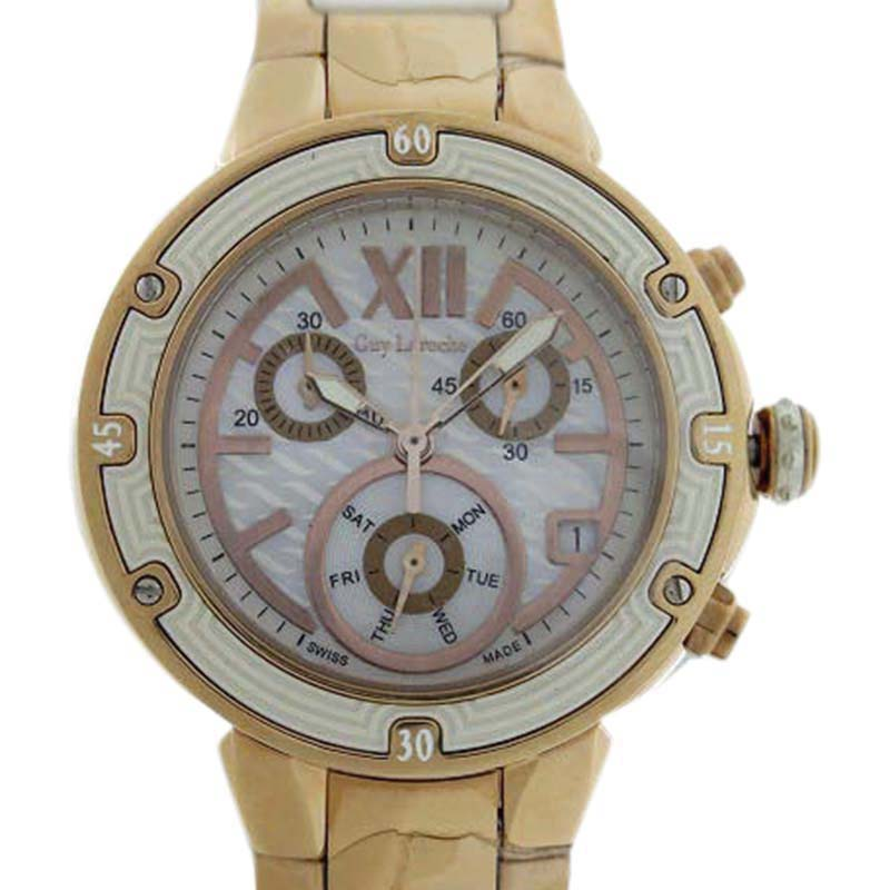 "Image of ""Guy Laroche Gilaross Gl-6245-02 Stainless Steel and Pink Gold Quartz"""