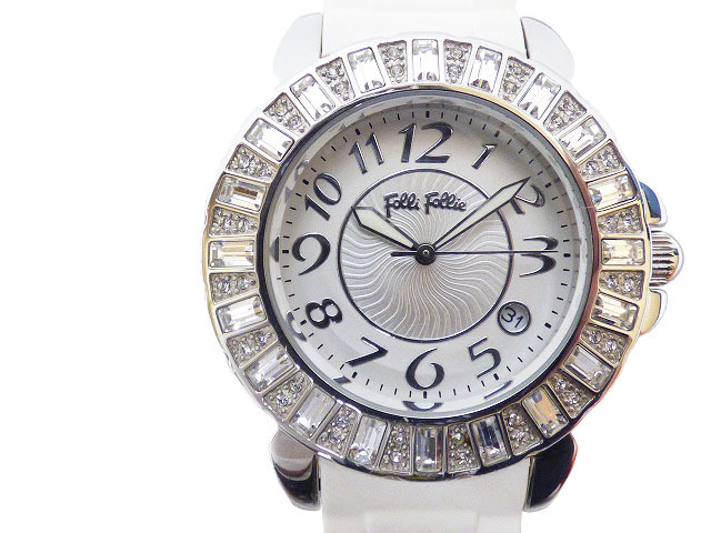"Image of ""Folli Follie Wf7a004sd White Rubber Quartz Womens 38mm Watch"""