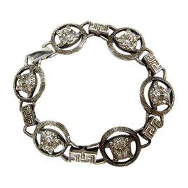 Versace Vintage Silver Tone Hardware Bracelet