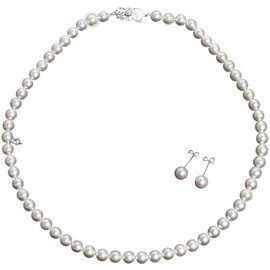 Mikimoto 18K White Gold with Pearl Necklace & Earrings Set