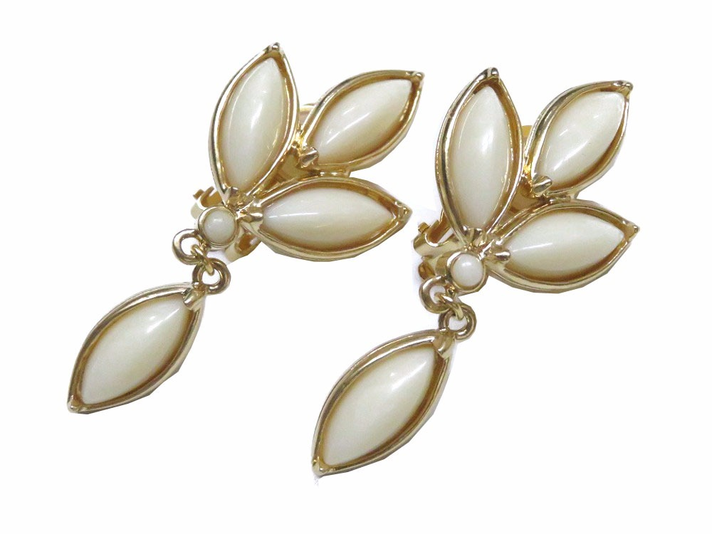 "Image of ""Yves Saint Laurent Gold Tone Hardware Leaf Earrings"""