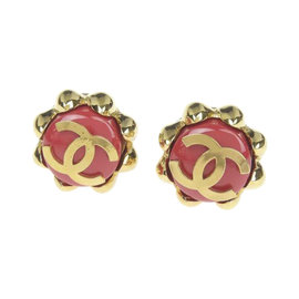 Chanel Coco Mark Gold Tone Hardware Flower Rouge Earrings