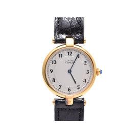 Cartier Gold Plated & Vermeier Leather Quartz 30mm Womens Watch