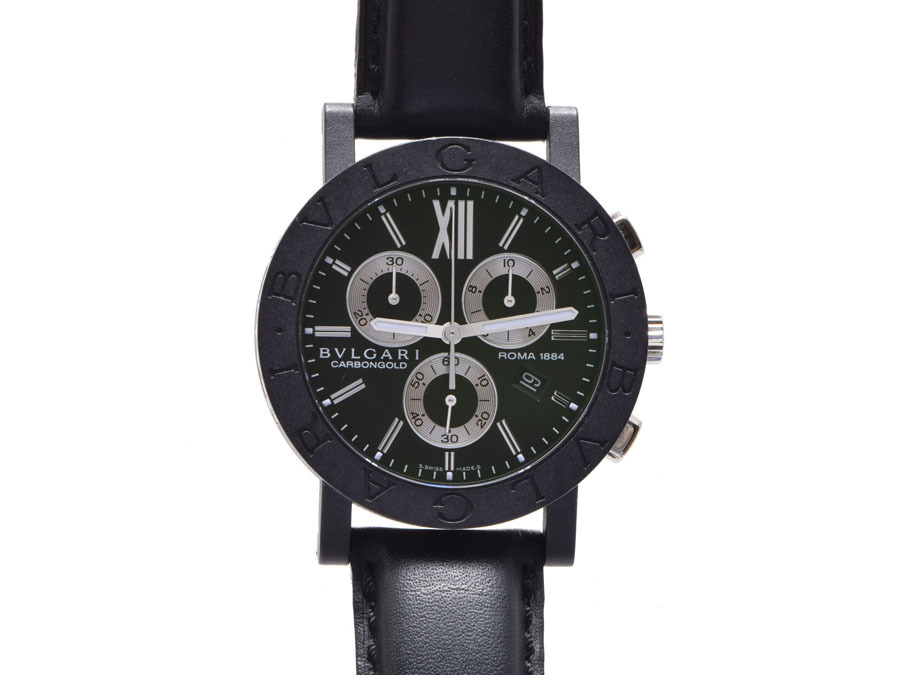 "Image of ""Bulgari Bb 38 Carbon & Leather 38mm Mens Watch"""