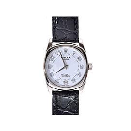 Rolex Cellini 6229/9 A White Gold & Leather Quartz 24mm Womens Watch