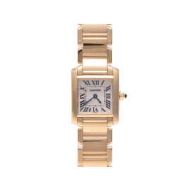 Cartier Tank Francaise Yellow Gold with Ivory Dial Quartz Womens 20x25mm Watch