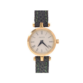 Gucci Gold Plated Stainless Steel and Leather Quartz 21mm Womens Watch