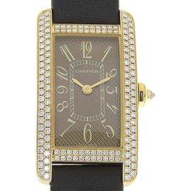 Cartier Tank Americaine 2482 18K Pink Gold with Diamond Quartz 20mm Womens Watch