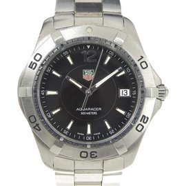 Tag Heuer Aquaracer WAF1110 Stainless Steel Black Dial Quartz 40mm Mens Watch