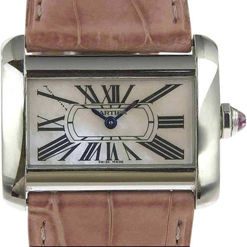 """Image of """"Cartier Tank Divan 2599 Stainless Steel and Leather with Pink Shell"""""""