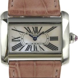 Cartier Tank Divan 2599 Stainless Steel and Leather with Pink Shell Dial Quartz 30mm Womens Watch