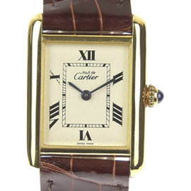Cartier Must Tank 925 Gold Plated Sterling Silver and Leather Quartz 21mm Womens Watch
