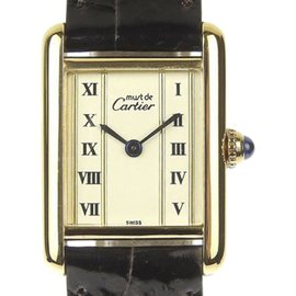 Cartier Must Tank 925 Gold Plated Sterling Silver and Leather Quartz 19mm Womens Watch